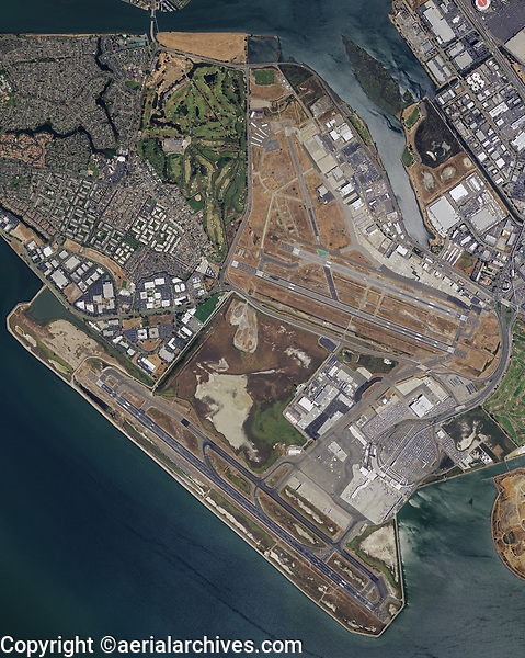 aerial photograph map of the Oakland International Airport (OAK), Oakland, California