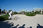 DORAL, FL. - Nick Watney's first shot from the bunker on hole 12 during final round play at the 2009 World Golf Championships CA Championship at Doral Golf Resort and Spa in Doral, FL. on March 15, 2009