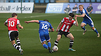 Josh Key of Exeter City tackles Gillingham's Alex MacDonald during Gillingham vs Exeter City, Emirates FA Cup Football at the MEMS Priestfield Stadium on 28th November 2020