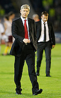 Arsenal manager Arsene Wenger, left and Partizan head coach Alekandar Stanojevic, right,  during  UEFA Champions league match in group H FC Partizan Belgrade Vs. Arsenal, London, Serbia, Monday, Sept. 28, 2010.  (Srdjan Stevanovic/Starsportphoto.com)