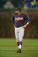 Cleveland Indians Rajai Davis (20) during warmups before Game 4 of the Major League Baseball World Series against the Chicago Cubs on October 29, 2016 at Wrigley Field in Chicago, Illinois.  (Mike Janes/Four Seam Images)