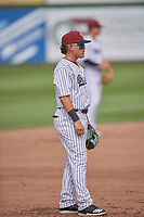 Hector Pineda (3) of the Idaho Falls Chukars on defense against the Orem Owlz at Melaleuca Field on July 14, 2019 in Idaho Falls, Idaho. The Owlz defeated the Chukars 6-2. (Stephen Smith/Four Seam Images)