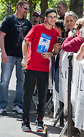 July 21 2017, PARIS FRANCE Rene-Charles Angelil the Son of Singer Celine Dion and his friends enter in the Royal Monceau Hotel on Avenue Hoche # RENE CHARLES RENDCONTRE SES FANS