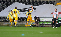 ATTENTION SPORTS PICTURE DESK<br /> Pictured: Andy Carroll of Newcastle United celebrates his goal<br /> Re: Coca Cola Championship, Swansea City Football Club v Newcastle United at the Liberty Stadium, Swansea, south Wales. 13 February 2010