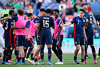 DENVER, CO - JUNE 3: Gio Reyna #7 of the United States celebrates their win during a game between Honduras and USMNT at Empower Field at Mile High on June 3, 2021 in Denver, Colorado.