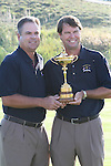 The 37th Ryder cup from Valhalla Golf Club in Louisville, Kentucky..Kenny Perry with Team Captain Paul Azinger and the Ryder Cup.Photo: Fran Caffrey/www.golffile.ie.