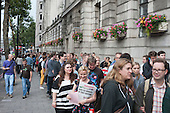 Queueing round the block. Grassroots for Jeremy. 1500 people attend a rally in support of Jeremy Corbyn for Labour Leader. Camden Centre, London.