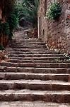 Croatia, Lastovo Island, Lastovo, Dalmatian Islands, Adriatic Sea, Hill town, Stone steps,  Europe,.