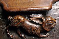 Europe/France/Auvergne/12/Aveyron/Villefranche-de-Rouergue: Lapin sur les stalles de l'ancienne chartreuse Saint Sauveur