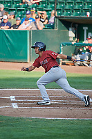 Carlos Diaz (3) of the Idaho Falls Chukars bats against the Ogden Raptors at Lindquist Field on July 2, 2018 in Ogden, Utah. The Raptors defeated the Chukars 11-7. (Stephen Smith/Four Seam Images)