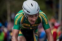 Willie Smit (ZAF) up Mount Fløyen<br /> <br /> Men Elite Individual Time Trial<br /> <br /> UCI 2017 Road World Championships - Bergen/Norway