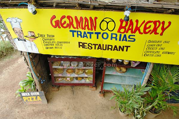 India, Kerala, Varkala Beach. German Bakery on the cliff of Varkala Beach. No releases available.