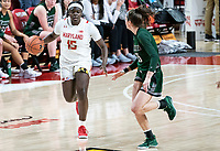 COLLEGE PARK, MD - DECEMBER 8: Ava Therien #35 of Loyola turns to watch Ashley Owusu #15 of Maryland move up during a game between Loyola University and University of Maryland at Xfinity Center on December 8, 2019 in College Park, Maryland.