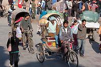Kathmandu, Nepal.  Rickshaw Transport in Makhan Tole Street, near Durbar Square.