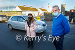 Cllr: Michael Kennelly standing with the principal of Scoil Mhuire Gan Smal Ann Dowling Hillard in Lixnaw outside the school where their hoping to get traffic calming measures installed.
