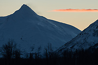 Dawn over windswept peaks along Turnagain Arm, Alaska. Photo by James R. Evans.