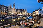 Belgium, Oost Vlaanderen, Ghent: Evening cafe scene along the Graslei