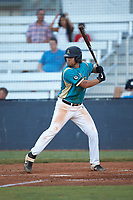 Dalton Williams (38) (Appalachian State) of the Mooresville Spinners at bat against the Concord A's at Moor Park on July 31, 2020 in Mooresville, NC. The Spinners defeated the Athletics 6-3 in a game called after 6 innings due to rain. (Brian Westerholt/Four Seam Images)