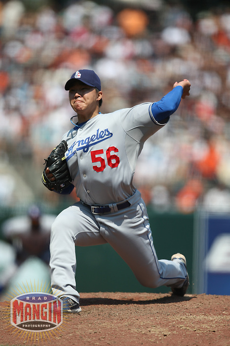 SAN FRANCISCO - JULY 6:  Hong-Chih Kuo of the Los Angeles Dodgers pitches during the game against the San Francisco Giants at AT&T Park in San Francisco, California on July 6, 2008.  The Dodgers defeated the Giants 5-3.  Photo by Brad Mangin