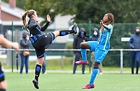 Brugge's Ellen Martens pictured in a fight for the ball with Union's Veronique Zang Bikoula during a female soccer game between the women teams of Club Brugge YLA Dames and Union Saint-Ghislain Tertre-Hautrage Ladies on the 1/16 th qualifying round for the Belgian Womens Cup 2020  2021 , on saturday 26 th of September 2020  in Brugge , Belgium . PHOTO SPORTPIX.BE | SPP | DAVID CATRY