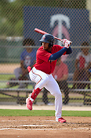 FCL Twins Emmanuel Rodriguez (4) bats during a game against the FCL Boston Red Sox on July 3, 2021 at CenturyLink Sports Complex in Fort Myers, Florida.  (Mike Janes/Four Seam Images)