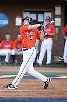 Phil Gosselin of the Virginia Cavaliers playing in Game Two of the NCAA Super Regional tournament against the Oklahoma Sooners at Charlottesville, VA - 06/13/2010. Oklahoma defeated Virginia, 10-7, to tie the series after two games.  Photo By Bill Mitchell / Four Seam Images