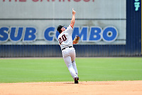 Hickory Crawdads Justin Foscue (20) points out a pop fly to the right fielder during a game against the Asheville Tourists on July 26, 2021 at McCormick Field in Asheville, NC. (Tony Farlow/Four Seam Images)