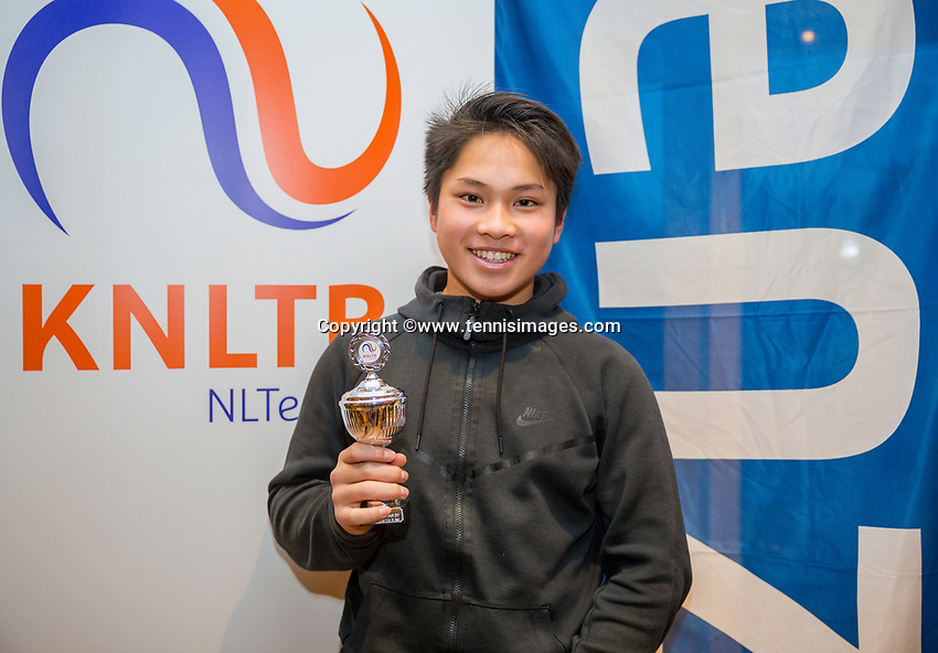 Hilversum, Netherlands, December 3, 2017, Winter Youth Circuit Masters, 12,14,and 16 years,  8 th place boys 14 years Andy Huynh<br /> Photo: Tennisimages/Henk Koster