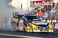 Feb. 14, 2013; Pomona, CA, USA; NHRA funny car driver Ron Capps during qualifying for the Winternationals at Auto Club Raceway at Pomona.. Mandatory Credit: Mark J. Rebilas-