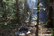 Unattended campfire at a campsite along the Carrigain Notch Trail near EB&L Railroad's Camp 20 in the Pemigewasset Wilderness in the New Hampshire White Mountains. When I came upon this campsite, the fire was still burning under the rocks of the fire ring, and the camp was vacant. I put the fire out and stayed at the site for over 30 minutes to make sure the fire was out. This is poor leave no trace practices.