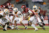 Arkansas quarterback Feleipe Franks (13) carries the ball, Saturday, November 7, 2020 during the second quarter of a football game at Donald W. Reynolds Razorback Stadium in Fayetteville. Check out nwaonline.com/201108Daily/ for today's photo gallery. <br /> (NWA Democrat-Gazette/Charlie Kaijo)