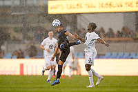 SAN JOSE, CA - MARCH 7: Andy Rios #25 of the San Jose Earthquakes battles for the ball with Ike Opara #3 of Minnesota United during a game between Minnesota United FC and San Jose Earthquakes at Earthquakes Stadium on March 7, 2020 in San Jose, California.