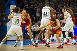 Real Madrid´s Marcus Slaughter and Sergio Rodriguez and Galatasaray´s Arslan during 2014-15 Euroleague Basketball match between Real Madrid and Galatasaray at Palacio de los Deportes stadium in Madrid, Spain. January 08, 2015. (ALTERPHOTOS/Luis Fernandez)
