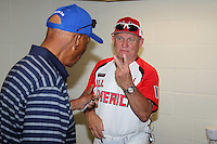 Larry Bowa talks playing two games with Mr. Cub Ernie Banks in the locker room before the Under Armour All-American Game at Wrigley Field on August 13, 2011 in Chicago, Illinois.  (Mike Janes/Four Seam Images)