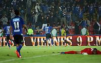 BOGOTA- COLOMBIA. 29-03-2015: Maximiliano Nuñez (#18) de Millonarios celebra un gol anotado a Boyacá Chicó FC durante partido por la fecha 12 de la Liga Águila I 2015 jugado en el estadio Nemesio Camacho El Campín de la ciudad de Bogotá / Maximiliano Nuñez (#18) of Millonarios celebrates a goal scored to Boyaca Chico FC during the match for the 12th date of the Aguila League I 2015 played at Nemesio Camacho El Campin stadium in Bogotá city . Photo: VizzorImage / Nestor Silva / Str