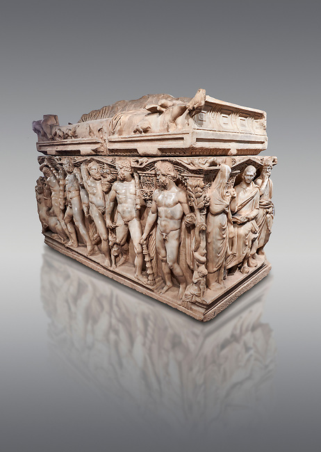 """Roman relief sculpted Hercules sarcophagus with kline couch lid, """"Columned Sarcophagi of Asia Minor"""" style typical of Sidamara, 250-260 AD, Konya Archaeological Museum, Turkey. Against a grey background"""