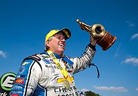 Sep 2, 2019; Clermont, IN, USA; NHRA funny car driver John Force celebrates after winning the US Nationals at Lucas Oil Raceway. Mandatory Credit: Mark J. Rebilas-USA TODAY Sports