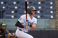 Tampa Tarpons Jake Sanford (22) bats during a game against the Fort Myers Mighty Mussels on May 19, 2021 at George M. Steinbrenner Field in Tampa, Florida. (Mike Janes/Four Seam Images)