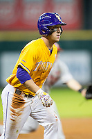 LSU Tigers shortstop Alex Bregman (8) takes his lead off of third base during the Houston College Classic against the Nebraska Cornhuskers on March 8, 2015 at Minute Maid Park in Houston, Texas. LSU defeated Nebraska 4-2. (Andrew Woolley/Four Seam Images)