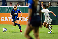 TACOMA, WA - JULY 31: Eugenie Le Sommer #9 of the OL Reign dribbles the ball during a game between Racing Louisville FC and OL Reign at Cheney Stadium on July 31, 2021 in Tacoma, Washington.
