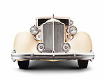 1935 Packard Twelve coupe roadster classic vintage luxury car front view isolated on white background with clipping path Image © MaximImages, License at https://www.maximimages.com