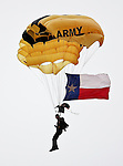 A United States Army parachuter in action before the 2010 Hyundai Sun Bowl football game between the Notre Dame Fighting Irish and the Miami Hurricanes at the Sun Bowl Stadium in El Paso, Tx. Notre Dame defeats Miami 33 to 17...