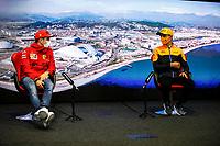 23rd September 2021; Sochi, Russia;   F1 Grand Prix of Russia 16 Charles Leclerc MON, Scuderia Ferrari Mission Winnow, 4 Lando Norris GBR, McLaren F1 Team, F1 Grand Prix of Russia at Sochi Autodrom   driver press conference