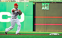 21 June 2010: Washington Nationals' shortstop Ian Desmond makes a throw to first during a game against the Kansas City Royals at Nationals Park in Washington, DC. The Nationals edged out the Royals 2-1 in the first game of their 3-game interleague series, snapping a 6-game losing streak. Mandatory Credit: Ed Wolfstein Photo