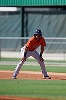 GCL Astros Jose Alvarez (6) leads off during a Gulf Coast League game against the GCL Marlins on August 8, 2019 at the Roger Dean Chevrolet Stadium Complex in Jupiter, Florida.  GCL Astros defeated GCL Marlins 4-2.  (Mike Janes/Four Seam Images)