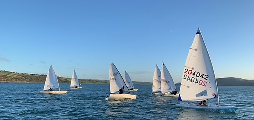 Mixed single-handed dinghies racing at the EABC Christmas Regatta on Larne Lough