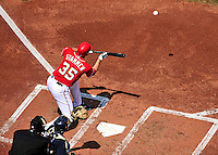 23 August 2009: Washington Nationals' pitcher Craig Stammen lays down a sacrifice bunt, moving Mike Morse to third, in the second inning against the Milwaukee Brewers at Nationals Park in Washington, DC. The Nationals defeated the Brewers 8-3 to take the third game of their four-game series, snapping a five games losing streak. Mandatory Credit: Ed Wolfstein Photo