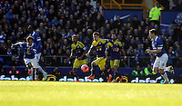Pictured: Pablo Hernandez of Swansea (C) charges forward. Sunday 16 February 2014<br /> Re: FA Cup, Everton v Swansea City FC at Goodison Park, Liverpool, UK.