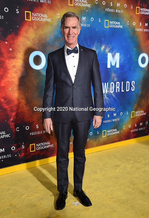 """LOS ANGELES - FEBRUARY 26: Bill Nye attends National Geographic's 2020 Los Angeles premiere of """"Cosmos: Possible Worlds"""" at Royce Hall on February 26, 2020 in Los Angeles, California. Cosmos: Possible Worlds premieres Monday, March 9 at 8/7c on National Geographic. (Photo by Frank Micelotta/National Geographic/PictureGroup)"""