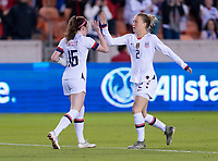 HOUSTON, TX - JANUARY 31: Rose Lavelle #16 and Emily Sonnett #2 of the United States celebrate during a game between Panama and USWNT at BBVA Stadium on January 31, 2020 in Houston, Texas.